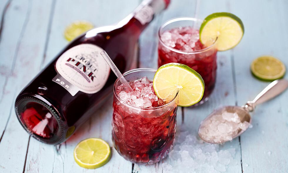 Caipipink cocktail photo in landscape