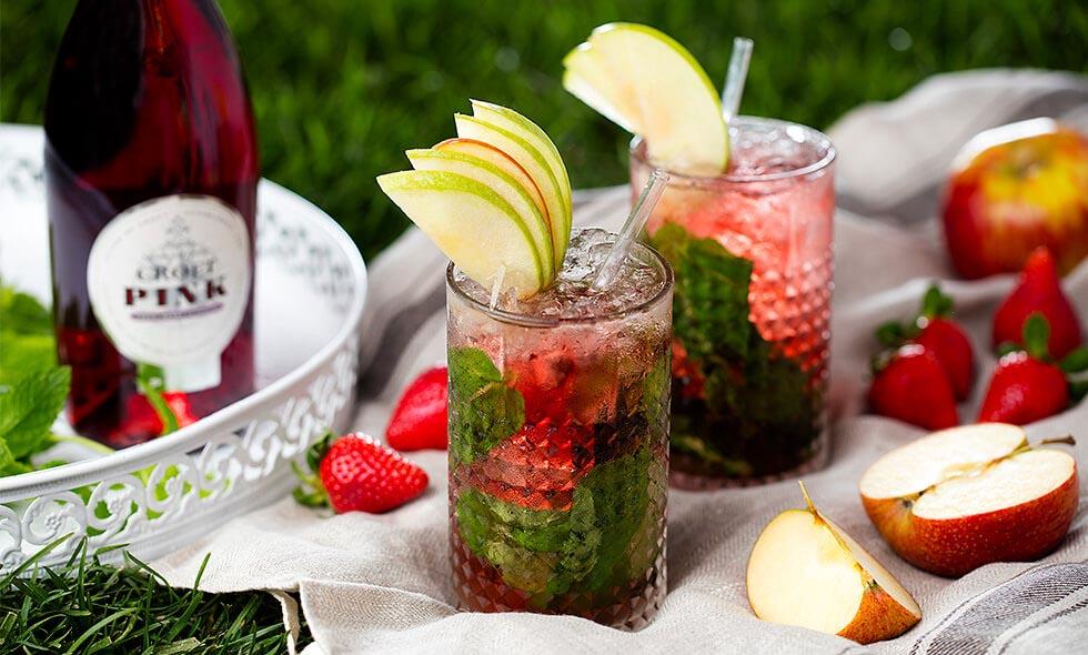 Apple & Pink Julep cocktail photo in landscape