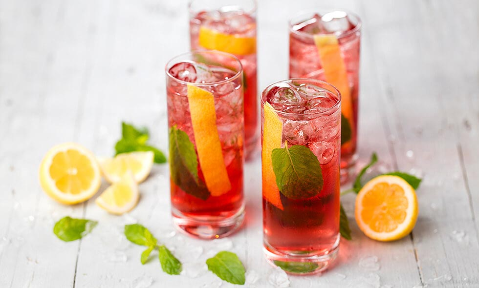 pink tonic cocktail photo in landscape